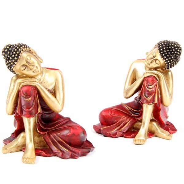 Thai Buddha Budda Figur Statue Feng Shui schlafend Kopf auf Knie rot gold 12cm