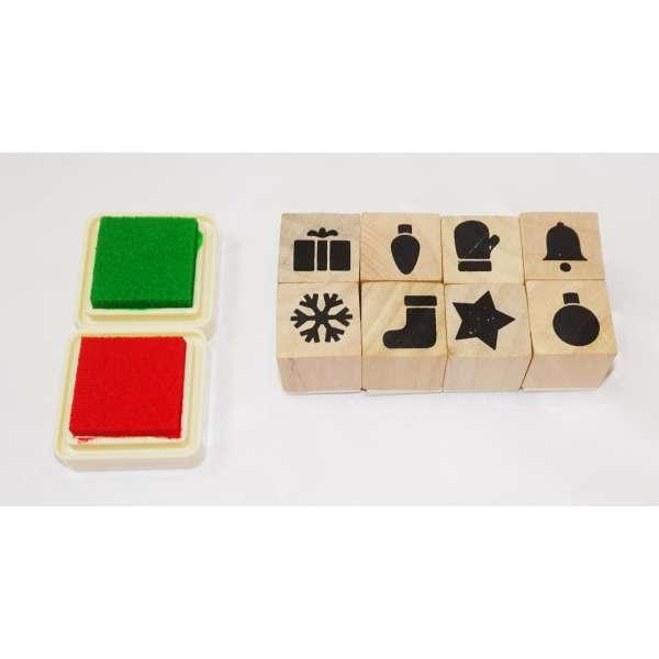 10tlg Stempel-Set incl. Stempelkissen Stempel Holz Stempelsatz Geschenk Schneeflocke
