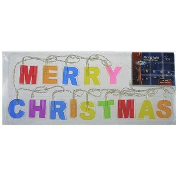 LED Lichterkette MERRY CHRISTMAS 14 LEDs Schriftzug beleuchet 2m innen/außen