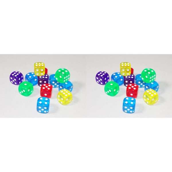 24x Würfel Spielwürfel Spiel Spielezubehör Knobeln Augen Cube transparent bunt