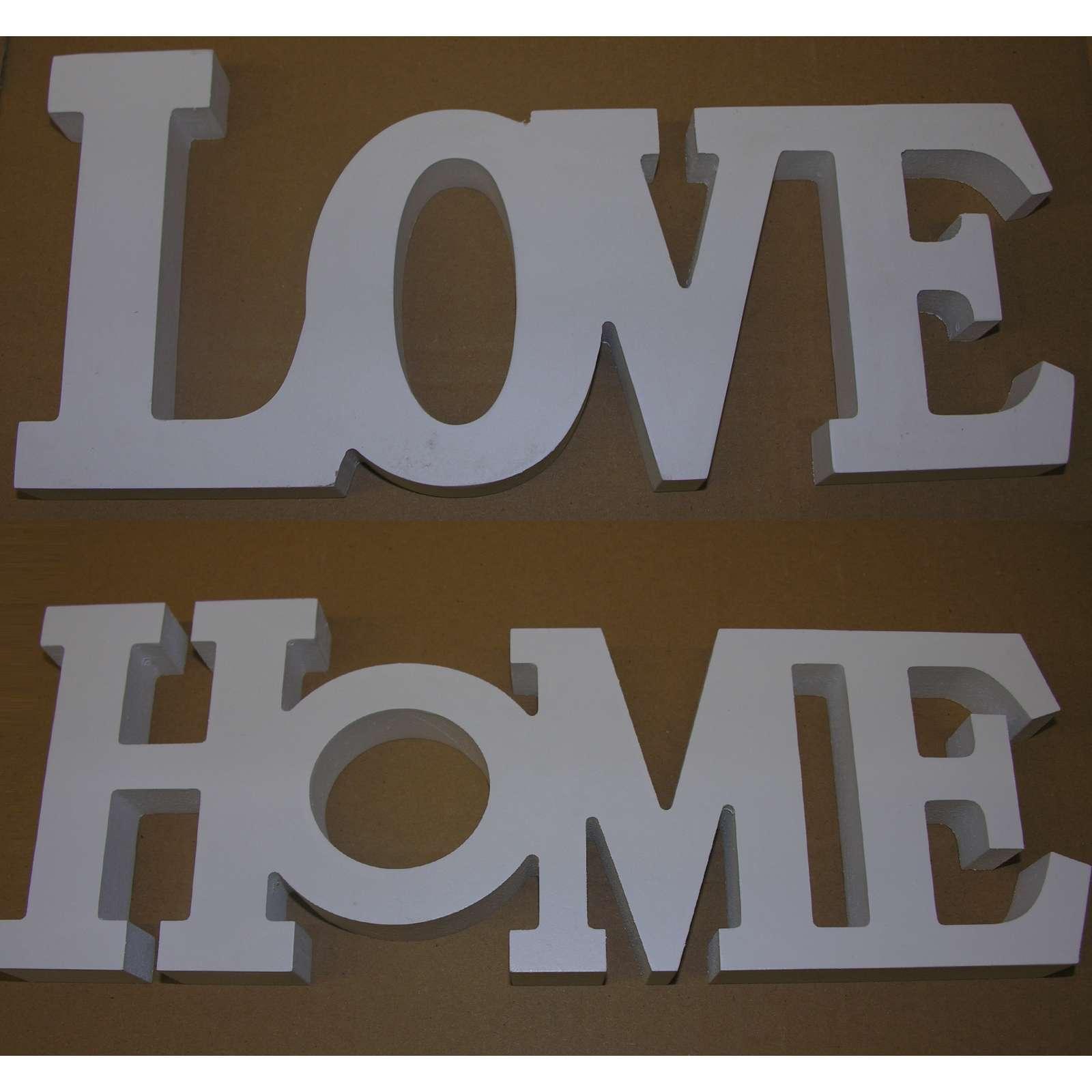 2er Set Schriftzug LOVE+HOME Weiss Holz Buchstaben