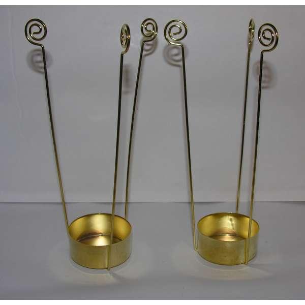 2x Teelicht-Einsatz 15 cm 3-armig gold-farben Butler Einsätze Ausheber Halter