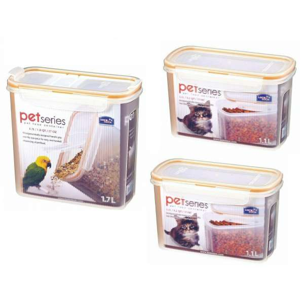 3er Set Tierfutter Frischhaltedosen Vorratsdose 1,7 l Schüttdose, 2x 1,1 L Dose