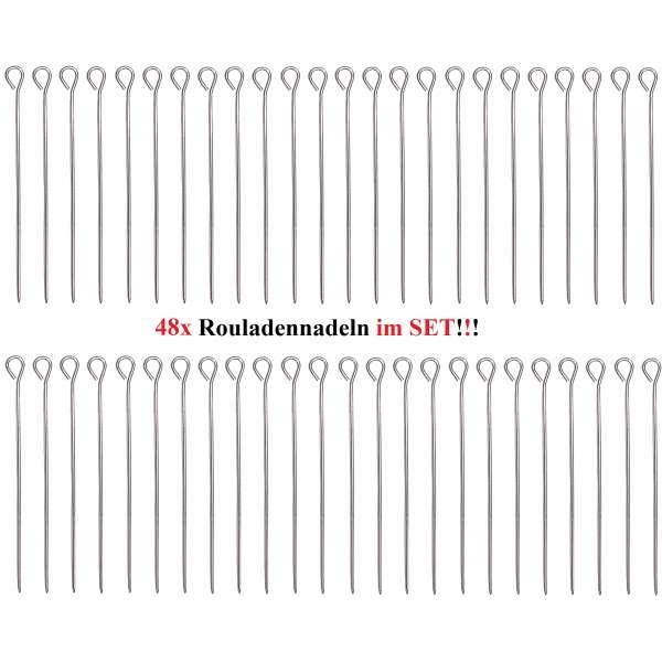 48 Stück Rouladennadeln Rouladenhalter Rouladen Spieß Nadel Edelstahl 9,8 cm