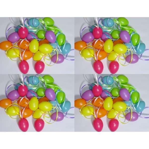 96x Ostereier Osterdeko Kunststoff Eier Osterschmuck Osterstrauch Anhänger bunt