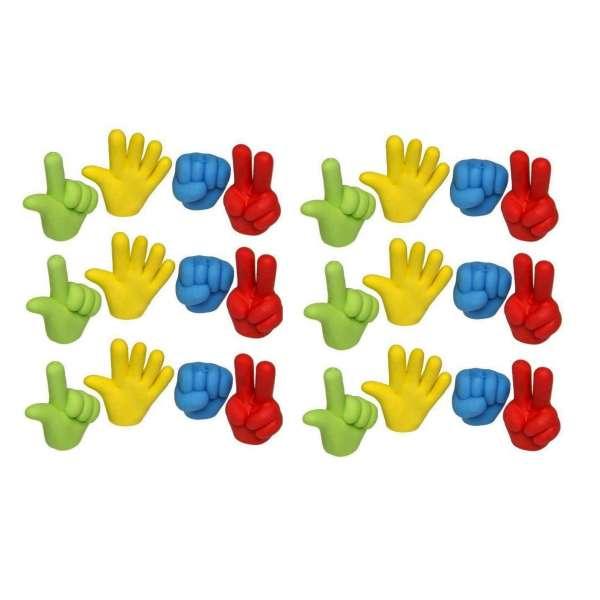 24er Set Hand Radiergummi Radierer Mitgebsel Kindergeburtstag Party Tombola bunt