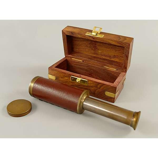 Fernrohr Messing mit Kunstleder-Besatz in edler Holzbox brüniert 98/166mm Antik Stil Deko