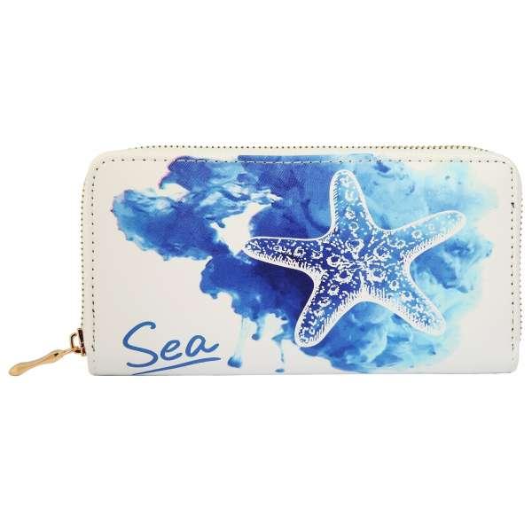 """Damen Geldbörse XL mit Aufschrift """"Sea"""" Maritim Seestern Geldbeutel Brieftasche"""