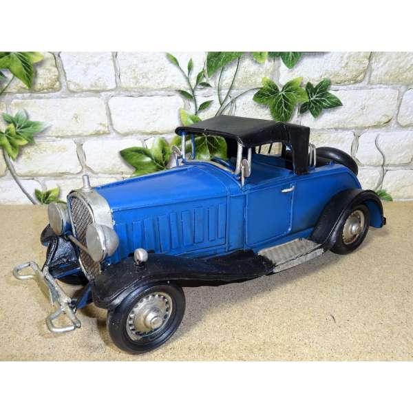 Modell Auto Oldtimer Limousine blau 26cm aus Blech Metall Retro Antik Stil Shabby Chic
