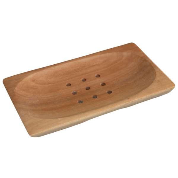 Natürliche Seifenschale Seifen-Ablage aus Mahagoni Holz ca. 14x7,5cm Handarbeit