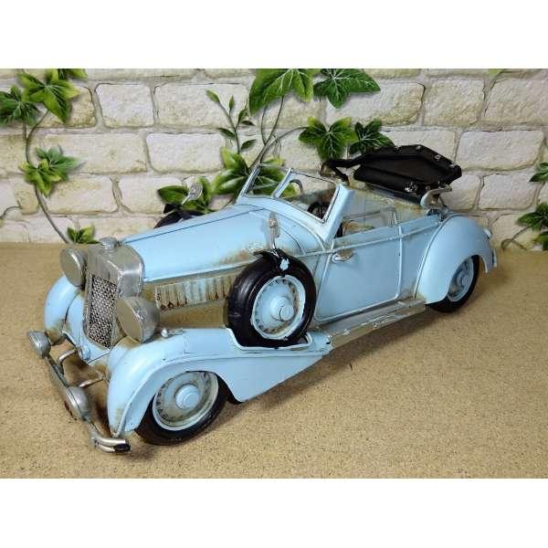 Modell Auto Oldtimer Cabrio Cabriolet blau 31cm aus Blech Metall Retro Stil Shabby