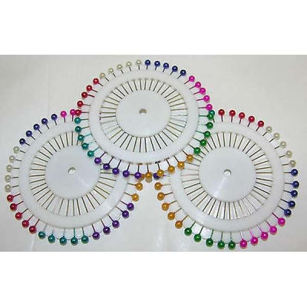 120 x Buntkopfnadeln Stecknadeln auf Nadelrad bunt Nähzubehör Metall 8 Farben