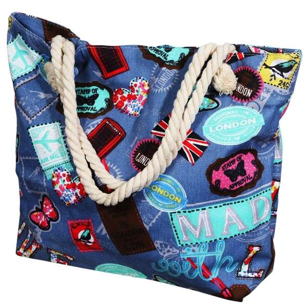 Maritime Shopping Tasche LONDON blau Stoff Reise-Tasche Badetasche Shopper Strand