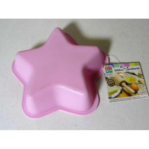 Kleine Silikon Backform Stern pink 13cm Kuchenform Cupcake Form Muffin Kinder Party