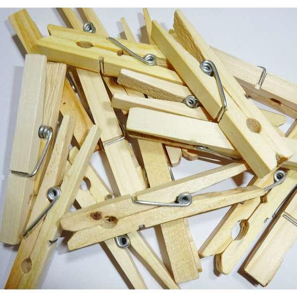 100x Klammern Wäscheklammern Holz Klammer Holzklammern Clips Basteln FSC natur