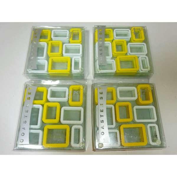 16er Set Glas-Untersetzer gelb/weiß Retro Look 70er Jahre Bierdeckel Glasuntersetzer