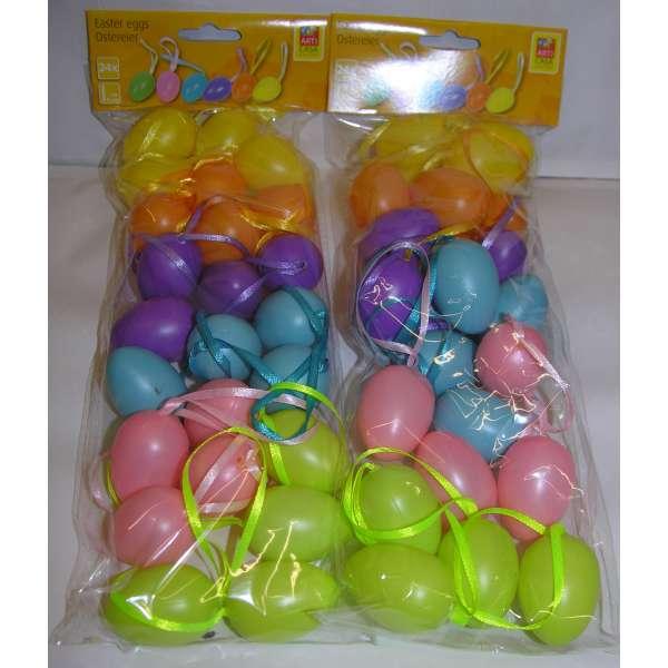 48 Ostereier Kunststoff 6 Farben bunt gemischt Ostern Osterdeko Deko Eier