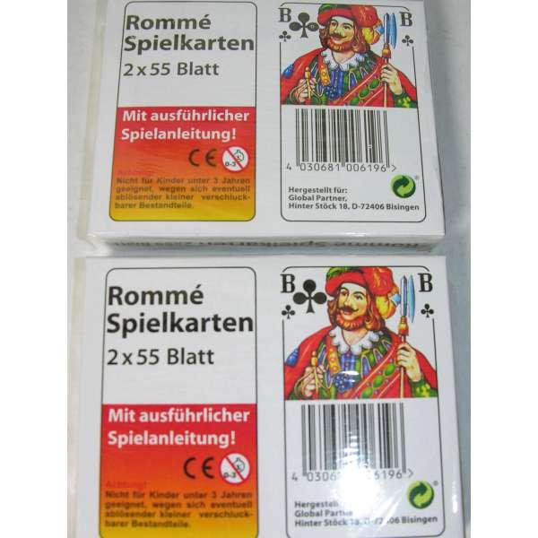 2x ROMME Spielkarten je 2x 55 Blatt Spiel Karten französisches Blatt mit Spielanleitung