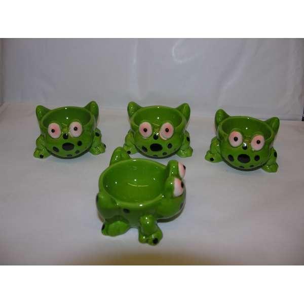 4 Stück lustige Eierbecher FROSCH im Set Tiere aus Keramik grün Geschenkidee
