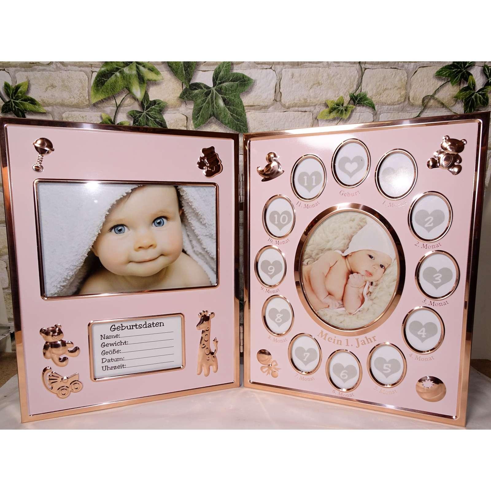 Baby Bilderrahmen Mein erstes Jahr klappbar Klapprahmen pink ...