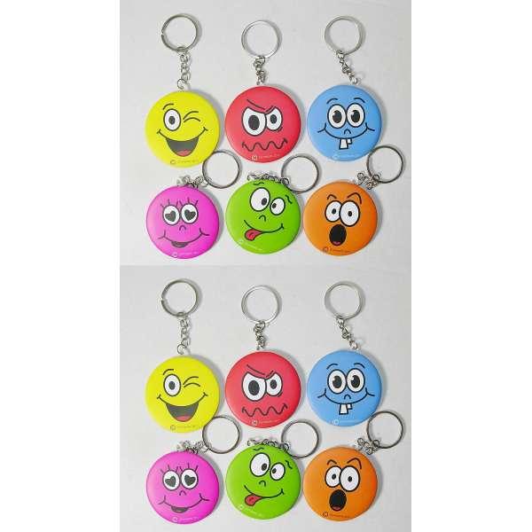 12x Schlüsselanhänger Smiley Kinder Taschen Schmink Spiegel Anhänger Mitgebsel