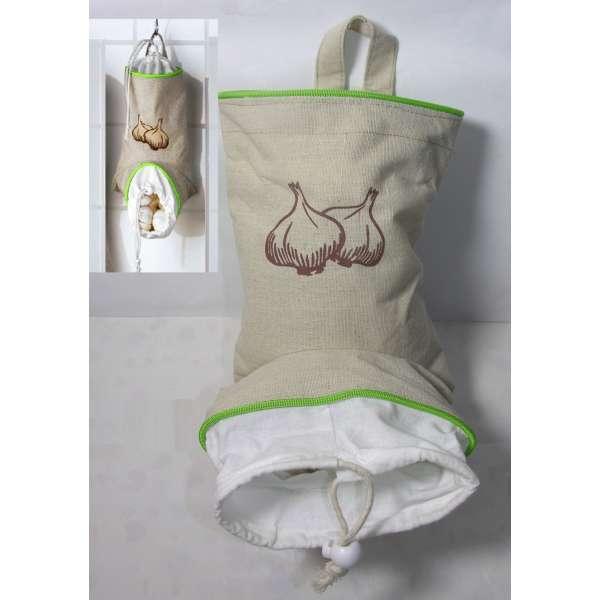 Knoblauch-Sack zum Hängen Hänger Gefäß Garlic Lager Aufbewahrung Küche