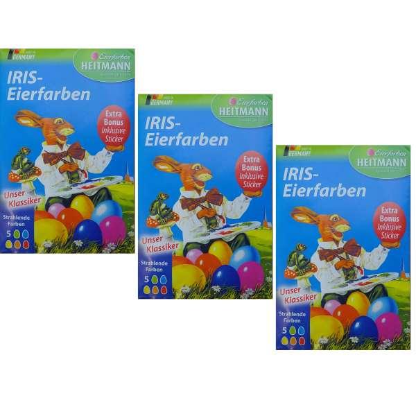 3x Eierfarben mit je 5 Farben Eier Ostereierfarben Heitmann Iris Eierfärben bunt