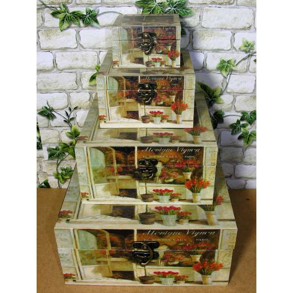 4er Set Holzboxen Fleurs de Paris Geschenkbox m. Leinwand Druck Aufbewahrung Schmuckschatulle