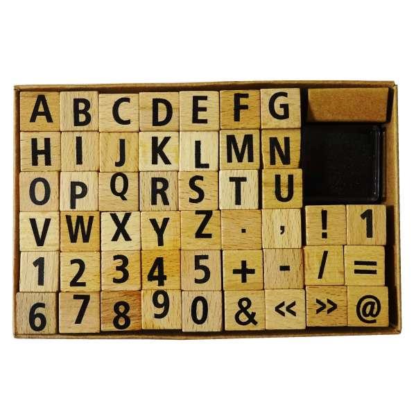 49tlg Stempel-Set incl. Stempelkissen Stempel Holz Buchstaben Alphabet ABC Zahlen