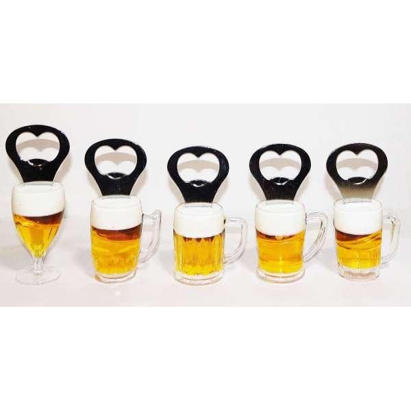 5x Flaschenöffner Magnet Kapselheber Kronkorken Öffner Bieröffner Bierkrug Bierglas