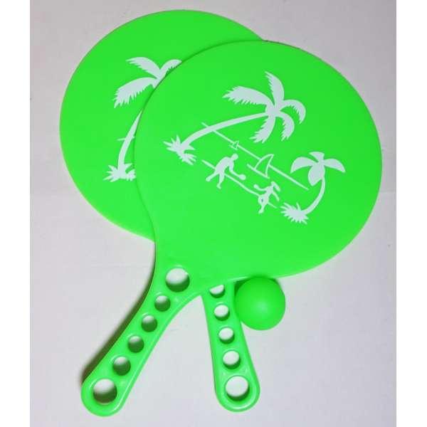 Beach Ballspiel 2 Schläger + 1 Ball im Set Beachball Strand und Garten Spiel grün