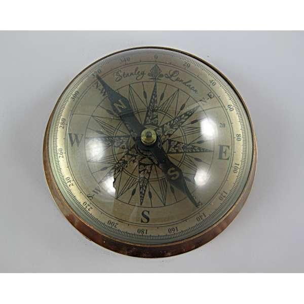 Kompass Messing brüniert mit Glas Kuppel Navigation Schiffskompass Antik Deko