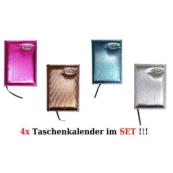 4x Taschenkalender im Set Kalender 2020 Organizer Timer Business vers. Farben A7