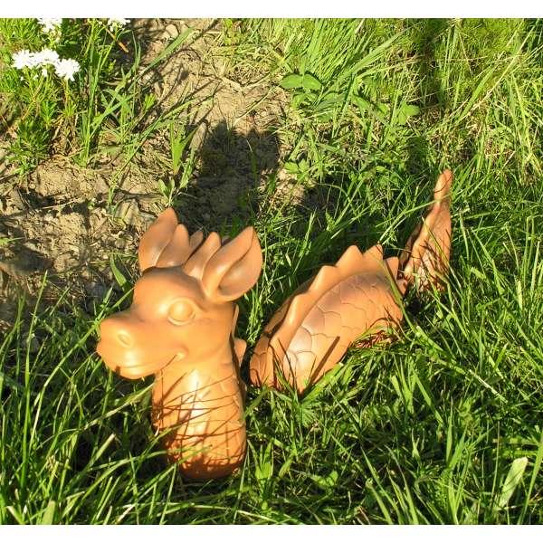 3-tlg. lustiger Deko Drachen Lindwurm 46x9x20cm Garten Figur Polystone Fantasy