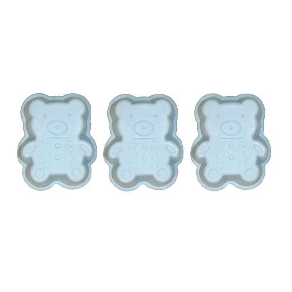 3er Set Mini Silikon Backform Bärchen blau Kuchenform Cupcake Form Muffin Kinder