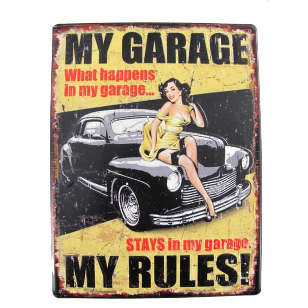 Blechschild My Garage Tür Wand Schild Auto Metall Retro Nostalgie Pin up Blech