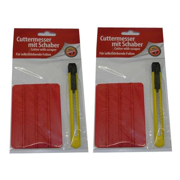 2x Cuttermesser Teppichmesser Universalmesser mit Abbrechklinge + Schaber im Set