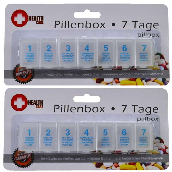 2 Pillendose Tablettendose 7 Tage Pillenbox Tablettenbox Spender Medikamenten-Box