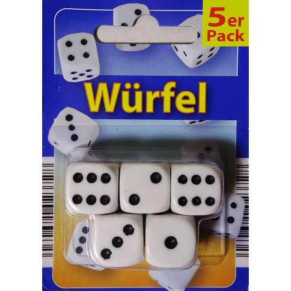 5x Würfel Spielwürfel Spiel Spielezubehör Knobeln Augen Cube 15mm weiß