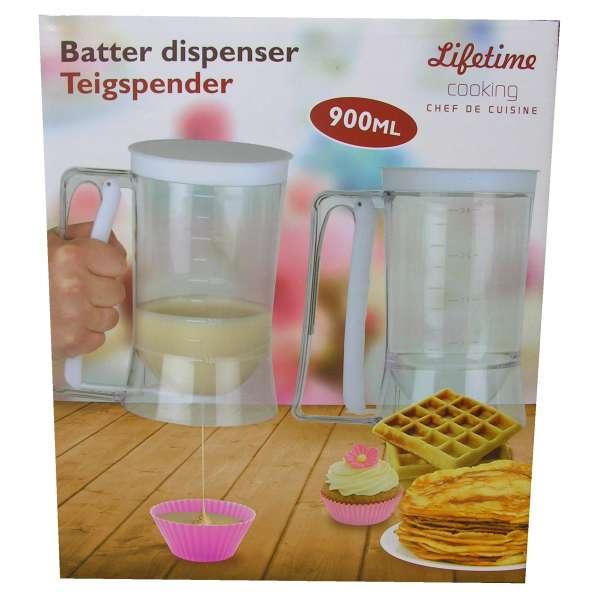 Teig-Spender-Portionierer-Dosierer Messbecher 900ml Weiss Muffin Waffeln Backen