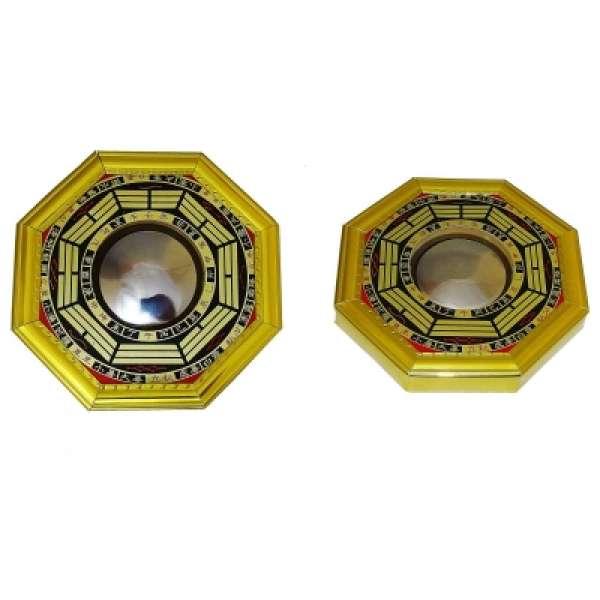 BaGua Spiegel konvex ca. 12cm Holz Feng Shui Schutzschild China goldfarben