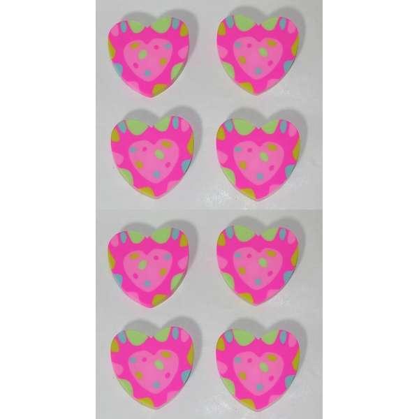 8er Set Herz Radiergummi Radierer Mitgebsel Kindergeburtstag Party Tombola rosa