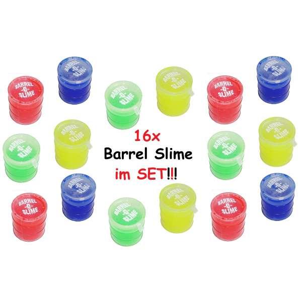 16x Barrel Slime Glibber Öltonne Schleim im Fass Kindergeburtstag Party Spaß Bunt