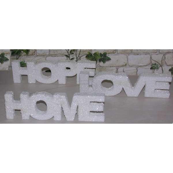 3er Set Schriftzug Love,Home und Hope weiss glitzer Buchstaben Aufsteller Deko