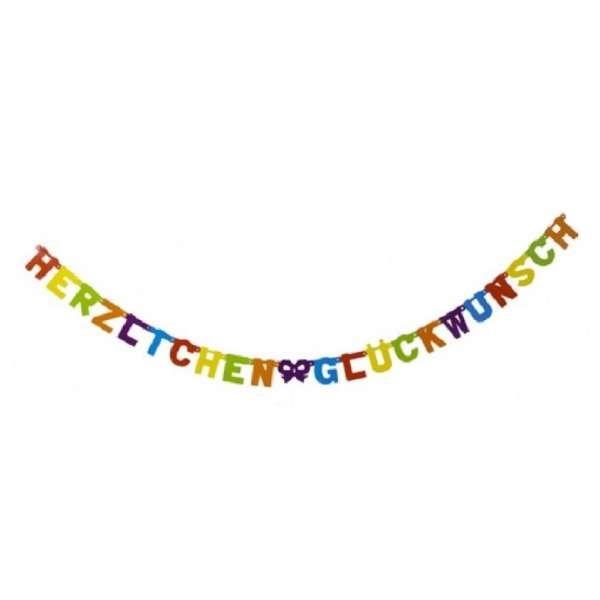 Girlande Banner Herzlichen Glückwunsch Geburtstag Party Deko mehrfarbig 238cm NEU