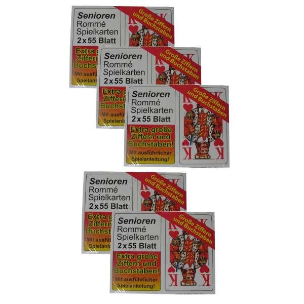 5x SENIOREN ROMME 2x 55 Blatt Spiel Karten französisches Blatt große Motive
