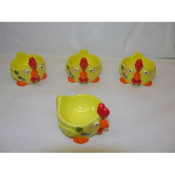 4 Stk. lustige Eierbecher HUHN Hühner Set Tiere aus Keramik gelb Geschenkidee