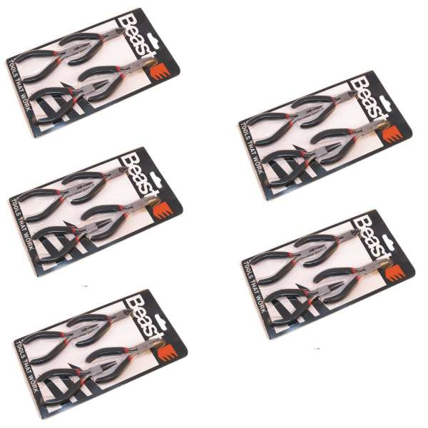 5x4=20tlg Zangen-Set Seitenschneider Kombizange Flachzange Rundzange 110-120mm