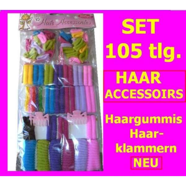105-tlg. Set Accessoirs Haargummis Haarbänder Haarklammern versch. Farben
