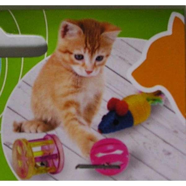 Katzen Spielzeug Wurfspielzeug Federn Maus Glocke Haustier Ball Set 3 teilig